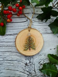 Wooden Christmas Ornament: Sparkle Fir Tree