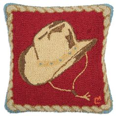Cowboy Hat Hooked Wool Pillow