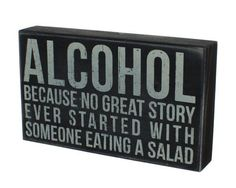 """Alcohol"" Hanging or Standing Décor Wood Box Sign for the Home Bar - Office - Desk, Wall or Tabletop Display - 6"" X 10"" by Primitives by Kathy, http://www.amazon.com/dp/B008NBUBYI/ref=cm_sw_r_pi_dp_j7Garb088ZSD8"
