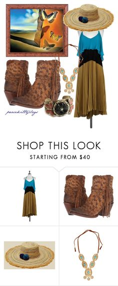 """butterflies in the breeze"" by kittyclogs on Polyvore featuring Salvador Dali, Tracy Reese, Lucchese, Hat Attack, Lydell NYC and Sweet Romance"