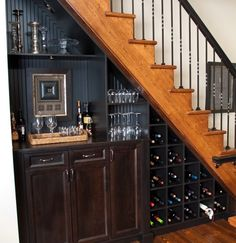 Resourceful Wine Storage under Stairs in Businesslike Design and Style : Traditional House Design With Wood Staircase And Wine Storage Under Stairs Also Minibar Cabinets