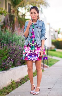 Aimee Song in vibrant floral print dress & blue denim jacket   street style #fashion