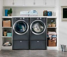 open shelving laundry set up