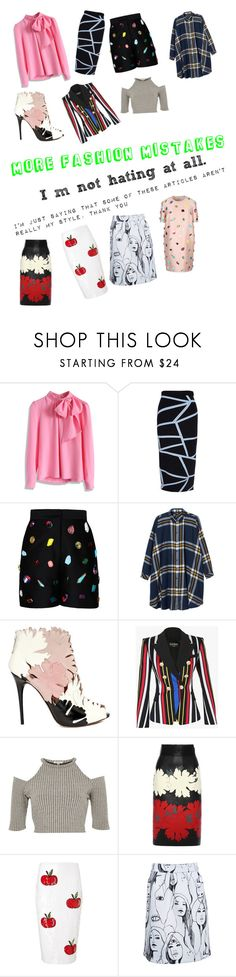 """""""More Fashion Mistakes"""" by i-found-wonderland ❤ liked on Polyvore featuring Chicwish, Jonathan Simkhai, STELLA McCARTNEY, Monki, Alexander McQueen, Balmain, River Island and Au Jour Le Jour"""