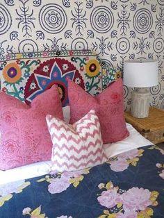 bohemian style bedding - Amber Interior Designs via Atticmag