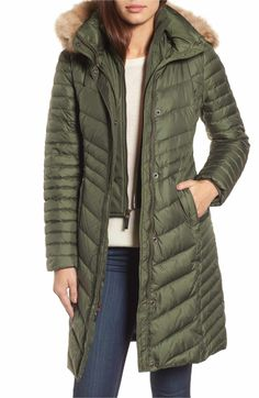 Main Image - Andrew Marc Chevron Quilted Coat with Genuine Coyote Fur Trim