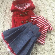 Одежда готова, берусь за обувь. #одежда #одеждадлякукол #сарафан #джинс #красный #шью #шьюсама #кукольнаяодежда