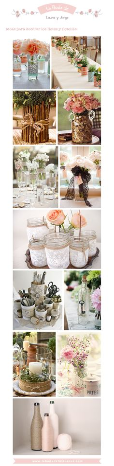 Fab idea for keeping your wedding decor budget down, recycle and create gorgeous looking bottles for great centerpieces! Diy Wedding, Rustic Wedding, Deco Nature, Wedding Decorations, Table Decorations, Wedding Centerpieces, Deco Floral, Ideas Para Fiestas, Vintage Party