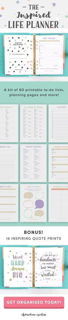 Need to get organised? Love making lists and planning your life on paper? The Inspired Life Planner is just what you need. It includes 60 printable planning pages to help you track your life, plan, and remember important things. It even includes 16 inspir Planner Stickers, Planner Pages, Life Planner, Happy Planner, Printable Planner, Free Printables, School Planner, Printable Templates, Do It Yourself Organization