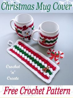 free crochet pattern for Christmas mug cover, add a mug and some sweets/candy and you have a quick Christmas gift, find the pattern on crochetncreate. #crochet #crochetmugcosy #crochetmugcover #freecrochetpatterns #kitchencrochet Crochet Mug Cozy, Crochet Dishcloths, Crochet Gifts, Free Crochet, Quick Crochet, Christmas Mugs, Crochet Christmas Ornaments, Christmas Crafts, Christmas Cover