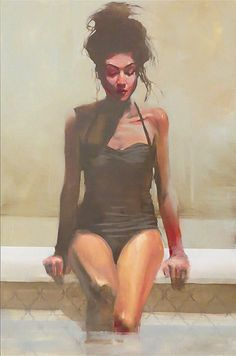 """""""Lower"""" - Michael Carson (b. 1972), oil on panel {contemporary figurative #impressionist art beautiful female in swimsuit seated poolside woman painting #loveart}"""