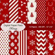 Christmas digital paper pack red christmas by CnDigitalDesign