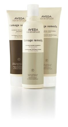 Aveda Damage Remedy Restructuring Shampoo, Conditioner and Intensive Restructuring Treatment. Amazing results for chemically stressed and damaged hair.