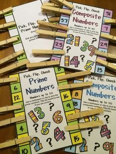 FREEBIES - Prime and Composite Numbers Pick, Flip and Check cards by Games 4 Learning - Clip the prime numbers (or composite numbers) and then flip the card to check! Kids love this challenge!