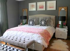 """51 Modern and fresh interiors showcasing gray paint I really didnt think """"pink"""" would work for an adult bedroom. But this pinkish coral is nice. Love it with this gray."""