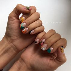🌿 Indian summer for Olya 🐯 I decided to mention the materials I use as it might be useful for some of you guys. Colorful Nail Designs, Acrylic Nail Designs, Acrylic Nails, Marble Nails, Cute Nails, Pretty Nails, Estilo Tribal, Abstract Nail Art, Tribal Nails