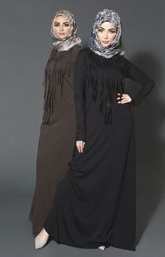 Hijab Fashion 2016/2017: Fringe has never gone out of style.Its timeless & classic but it will be the trend this year. More haute than hippe this fabulous bohemian themed design will ruffle new spirit into your wadrobe with a chicurban edge Fringe Factor Brown and beige Chiffon Silk Hijab www.aabcollection #fringefactor #abaya #chiffonsilk #hijab #aabhijab #modestwear #aabcollection