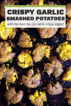 Fingerling Potatoes Baked, Garlic Smashed Potatoes, Seasoned Potatoes, Vegetable Sides, Vegetable Recipes, Potato Wedges Baked, Little Potatoes, Tasty Bites, Side Dish Recipes