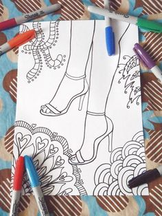 women shoes coloring high heel stiletto by LaSoffittaDiSte on Etsy