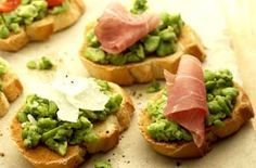 Broad bean crostini Impress guests with this tasty appetiser of broad bean crostini. Add olives, ham, feta cheese or cherry tomatoes to add extra flavour. Dinner Party Recipes, Snack Recipes, Healthy Recipes, Appetizer Dips, Yummy Appetizers, Broad Bean Recipes, Grilled Bread, Appetisers, The Fresh