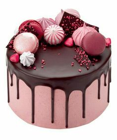 Order Raspberry and Chocolate drop cake with meringues, macaroons and chocolate shards.For Order Call or WhatsApp Cake Cookies, Cupcake Cakes, 16 Cake, Drippy Cakes, Peggy Porschen Cakes, Drop Cake, Cake Recipes, Dessert Recipes, Bolo Cake