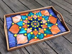 Lotus Mandala Mosaic Serving Tray workshop at Napa Glass Therapy - Father's Day weekend 2015