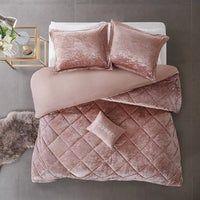 House of Hampton Nussbaum Velvet Comforter Set Color: Blush, Size: Twin/Twin XL Comforter + 1 Sham + 1 Throw Pillow Twin Xl Comforter, Ruffle Bedding, Queen Comforter Sets, Dusty Rose Comforter, Modern Comforter Sets, Comforters Bed, Full Size Comforter Sets, Fluffy Comforter, Pink Bedding Set