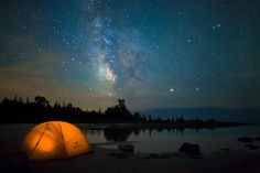 """""""Sleeping Under Stardust"""" - Talk about the middle of nowhere, this photo was taken on the north eastern shores of Lake Huron..."""