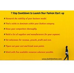 7 step countdown to launch your fashion start-up. #fuel4fashion #fashiondesigner #fashionbusiness #fashionbrands #fashionentrepreneur #fashionbiz #brandowner #emergingdesigner #independentdesigners #fashionsolopreneurs #onlinefashion #instapic #instadaily #monday #mondaymotivation