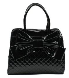 Scarleton Quilted Patent Faux Leather Satchel H104801 - Black,$29.99