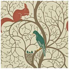 wallpaper vintage arts and crafts | Sanderson Wallpaper Vintage Squirrel and Dove Collection DVIWSQ102 ...