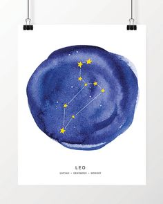 Digital Print, Watercolor Leo Constellation Art Print, Instant Download, Printable Art,  Zodiac Art Print, Great last minute gift!