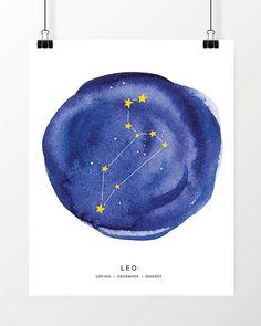 Digital Print, Watercolor Leo Constellation Art Print, Instant Download, Printable Art,  Zodiac Art Print, Great last minute gift!