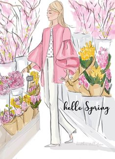 Items similar to Spring Blooms - Heather Stillufsen - Self Care - Cards and Art - Wall Art for Women on Etsy Sisters Art, Ecole Art, Spring Blooms, Spring Flowers, Hello Spring, Happy Spring, Cute Illustration, Illustration Artists, New Beginnings