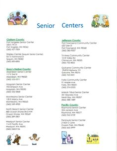 Senior Centers in Clallam, Grays Harbor, Jefferson & Pacific Counties, WA