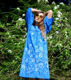 70s Blue Mexican Embroidered Dress Vintage by SurfandtheCity