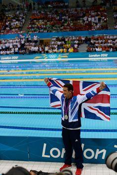 Michael Jamieson celebrates his silver medal in the men's 200m breaststroke.  IOC/Jason Evans