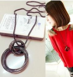 2015 New Fashion Women Necklace Large Circle Exaggerated Long Sweater Chain Jewelry Wholesale Free Shipping