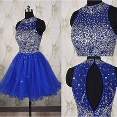 Royal Blue Beading Halter Homecoming Dress,Short Prom Dresses,Cocktail Dress,Homecoming Dress,Graduation Dress,Party Dress,Short Homecoming Dress F139