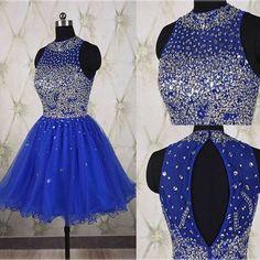Royal Blue Beading Halter Homecoming Dress,Short Prom Dresses,Cocktail Dress,Homecoming Dress,Graduation Dress,Party Dress,Short Homecoming Dress F139