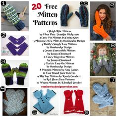 Roundup: 20 free crochet mitten patterns, curated by Oombawka Design