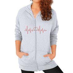 Pulse | Unisex Zip Up Hoodie Sweatshirt (On Woman) | American Apparel 5497 Asphalt CusTee