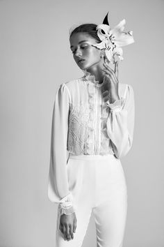 """The """"Valencia"""" bridal jumpsuit from the new 2018 Livné White collection, available now."""