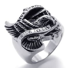 """Konov Jewellery Vintage Stainless Steel Eagle Hawk """"LIVE TO RIDE"""" """"RIDE TO LIVE"""" Men's Ring, Colour Black Silver, Size Z+1 (with Gift Bag) KONOV http://www.amazon.co.uk/dp/B00AVVZG7A/ref=cm_sw_r_pi_dp_nmQVvb14TWG7D"""