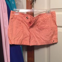 Coral shorts Beautiful color slightly pleated shorts. Only worn once. Size S Shorts