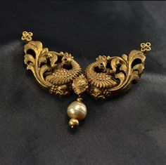 Attractive antique peacock pendant designed in yellow gold combined with natural pearl is stunning beautiful! Gold Mangalsutra Designs, Gold Earrings Designs, Gold Jewellery Design, Necklace Designs, Bridal Jewelry, Beaded Jewelry, Pearl Jewelry, Diamond Jewelry, Gold Jewelry