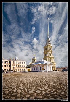 The Peter and Paul Cathedral. It's the first and oldest landmark in St. Petersburg, built between 1712 and 1733 on Zayachy Island along the Neva River.