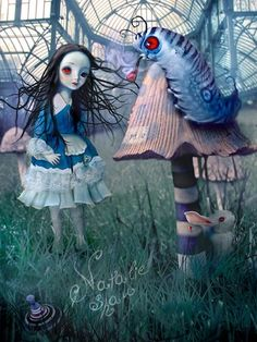 Natalie Shau, painting, dream, Alice, The Blue Caterpillar, wonderland
