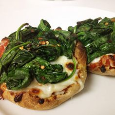Top a toasted, whole-grain tortilla, English muffin, or mini pita with marinara sauce, a variety of colorful vegetables (broccoli, spinach, mushrooms, bell peppers, or any other favorites) and part-skim mozzarella cheese and bake it in the oven for 5 to 10 minutes.
