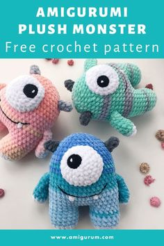 FREE crochet monster pattern - - Easy and simple crochet plush monster pattern, good way to destash leftover yarns and turn them into a cute toy amigurumi. The finished monster is 15 cm tall. Crochet Sloth, Giraffe Crochet, Crochet Birds, Cute Crochet, Crochet Dolls, Simple Crochet, Crochet Cats, Knitted Dolls, Crochet Food